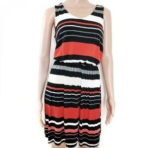 Merona | Burnt Orange Black Striped Tie Back Dress